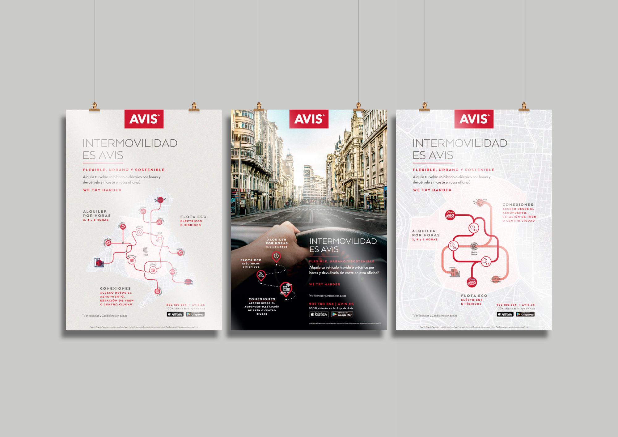 3 láminas de AVIS branding