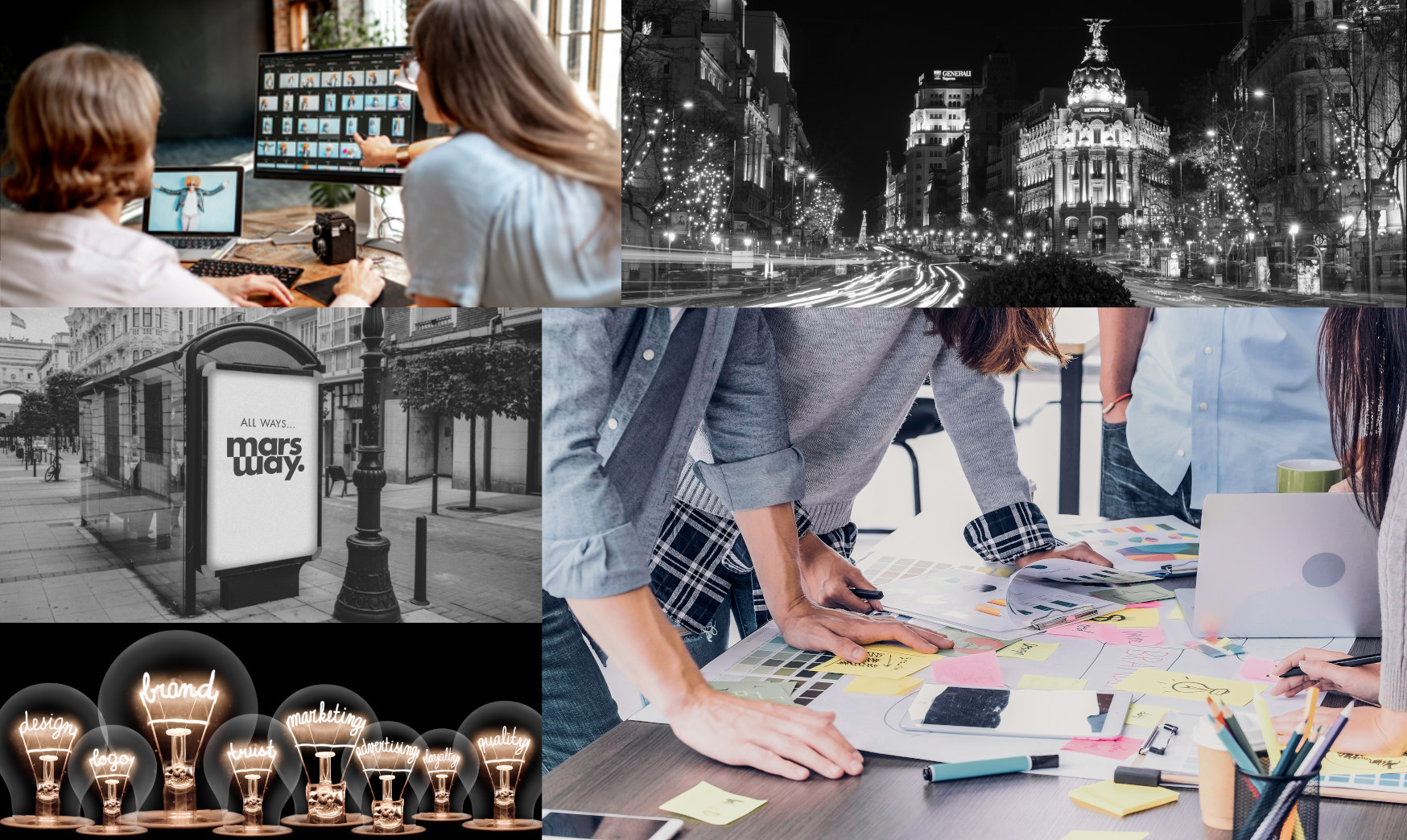Collage de imágenes con gente trabajando con ideas innovadoras