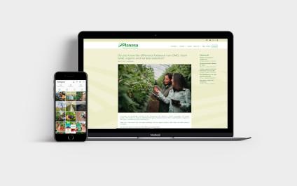 Redes sociales de Planasa en móvil y portátil
